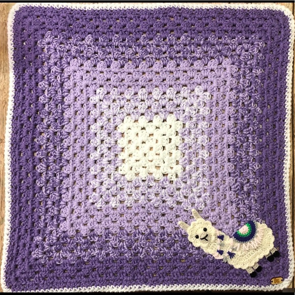 Chatties Corner Bedding Handmade Crochet Baby Blanket With Llama